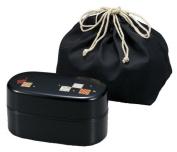 HAKOYA Men's lunch box oval black fine pattern hermitage 51280