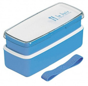 Le Bois length angle two-stage lunch box with belt Blue 640 053
