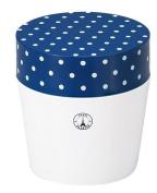 Masakazu [lunch box] Paris dot cafe lunch round navy x white