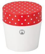 Masakazu [lunch box] Paris dot cafe lunch round Red x White