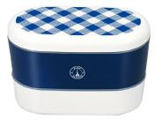 Masakazu [two-stage lunch box] Paris Oval nest lunch cheque navy