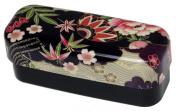 Slim compact lunch box black floral 52074 and Ha HAKOYA cloth
