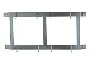 Rogar Ultimate Wall Mounted Pot Rack Vertical/Horizontal in Hammered Steel
