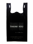 Plastic Bag- Economy 'Thank You' Silver Print Black T Shirt Bag 29cm x 17cm x 50cm 13 mic - 800 bags/case