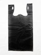 Plastic Bag-Extra Heavy Duty Black Plain Embossed T-Shirt Bag 29cm x 17cm x 21.13cm 30 mic - 150 bags/case