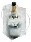 Clear Plastic Ice BagTM Collapsible Champagne Cooler Bag with Handles