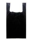 Plastic Bag-Black Plain Embossed T-Shirt Bag 25cm x 13cm x 46cm 16 mic - 750 bags/case