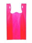 Plastic Bag-Red Plain Embossed T-Shirt Bag 29cm x 17cm x 50cm 13 mic - 100 bags/bundle