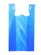 Plastic Bag-Blue Plain Embossed T-Shirt Bag 29cm x 17cm x 21.13cm 13 mic - 100 bags/bundle