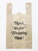 Plastic Bag- Heavy Duty 'Thank You' Italic Print Beige T-Shirt Bag 29cm x 17cm x 21.13cm 18 mic - 60 bags/bundle