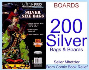 200 Silver Ultra Pro Bags and Boards for Comic Books