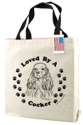 Cocker Spaniel Dog Print Canvas Tote Bag with Handles