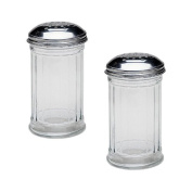 SET OF 2 - 350ml (Ounce) Multi-Purpose Spice Seasoning Grated Cheese Shaker Retro Dispenser, Glass Jar, Perforated Stainless Steel Lid