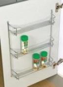 Behind Door / Wall Mount Chrome Spice Rack, 3 Shelf