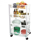 White 4 tier rolling cart
