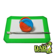 5x4 Silicone Mat & Blue & Orange Non-Stick Wax/Oil Jar Extract Pad w/ Pick