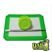 5x4 Silicone Mat & Green Non-Stick Wax/Oil Jar Extract Pad w/ Pick