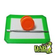 5x4 Silicone Mat & Orange Non-Stick Wax/Oil Jar Extract Pad w/ Pick