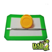 5x4 Silicone Mat & Yellow Non-Stick Wax/Oil Jar Extract Pad w/ Pick