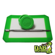 Dark Green Silicone Mat & Jar Non-Stick Wax Oil Tool Extract Pad