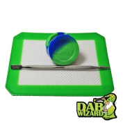 Green & Blue Silicone Mat & Jar Non-Stick Wax Oil Tool Extract Pad
