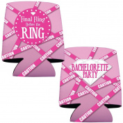 "Bachelorette Drink Koozies -""Final Fling..."" Pink Caution Tape - For Party/12"