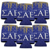Sigma Alpha Epsilon Koozie Set of 6 - Grunge Design