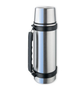Isosteel Va-9552q 740ml Double Walled Vacuum Flask with Isulating Plastic Drinking Mug and Quickstop System for One Hand Use