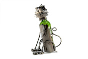 High Quality Genunie Hand Made Caddy Sitting Cat Metal Wine Bottle Holder Free Ship. ZB705-ITE