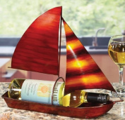 36cm Hand Sculpted Wrought Iron Sailboat Table Top Wine Bottle Holder