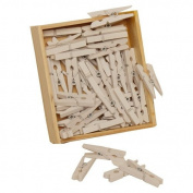 White 1 1/8 Mini Wood Clothing Pin Clips - 50 per box