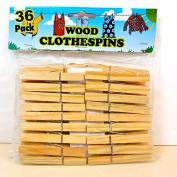 Clothespins,36 Wooden,Metal Spring Closure,7.6cm L,NIP