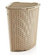 Rattan (Wicker Style) Corner Laundry Hamper 1.47 Bushel / 52 Litre