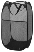 Mesh Pop-Up Laundry Hamper, Black - 36cm x 60cm - Easy to open and folds flat for storage. Hampers mesh material helps eliminate laundry odours and moisture. Great laundry hamper for college dorm.