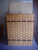 Basket - Hamper - Large with Attached Lid - Approx. Measurements 50cm X 41cm X 80cm . Accent Colours May Vary (Blue, Green, Red, Burgundy, Purple, Brown, Black or Natural).