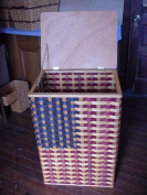 Basket - Trash Can or Hamper - Americana. American Flag Design Trash Can Basket. Approximately Measures 50cm Wide X 41cm Deep X 80cm High. What a Way to Complete a Patriotic Room. This Can Also Be Used As a Hamper. This Is a Great Unique Gift Idea fo ..