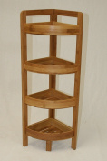 4 Tier Bamboo Corner Shelf in Dark Oak