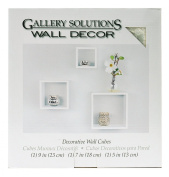 Gallery Solutions 3-Piece Nested Wall Cubes Set, White
