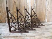 Lot/Set of 4 Antique-Style Cast Iron SMALL 13cm x 18cm SHELF BRACKETS Hangers