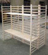 2 Sided Log Wood Dowel Shelf Rack with four 1.2m long shelving units, 90cm W x 120cm L x 18mH