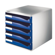Leitz Post Set Filing Unit with 5 Drawers A4 W291xD352xH291mm Blue and Grey Ref 5280-35