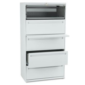 700 Series Five-Drawer Lateral File w/Roll-Out & Posting Shelf, 36w, Light Grey