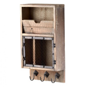 Casey Industrial Reclaimed Wood Farmhouse Wall Storage Organiser