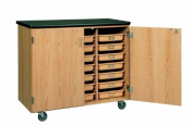 Diversified Woodcrafts 4751K Solid Oak Wood Mobile Tote Tray Storage Cabinet with Plastic Laminate Top, 230kg Capacity, 120cm Width x 100cm - 1.3cm Height x 60cm Depth