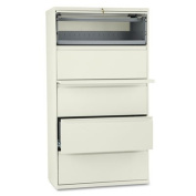 HON COMPANY * 800 Series Five-Drawer Lateral File, Roll-Out/Posting Shelves, 36w x 67h, Putty, Sold as 1 Each