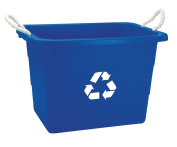 United Solutions 71.9l Rectangular Rope Handled Recycling Tub, Recycling Blue