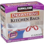 Kirkland Signature 49.2l Drawstring Kitchen Trash Bags, 200 Ct