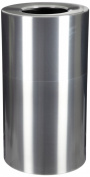 Witt Industries AL18-CLR Aluminium 90.8l Decorative Trash Can with Rigid Plastic Liner, Round, 38cm Diameter x 80cm - 1.3cm Height, Clear Coat