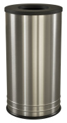 Ex-Cell Kaiser INT1528 T-8 SS BLX International Collection Stainless Steel Indoor Ash/Trash Receptacle with Black Textured Top, 38cm Diameter x 70cm Height