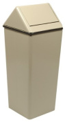 Witt Industries 1311HTAL Stainless Steel 49.2l Waste Watcher Hamper and Swing Top Receptacle, Square, 33cm Width x 33cm Depth x 70cm Height, Almond